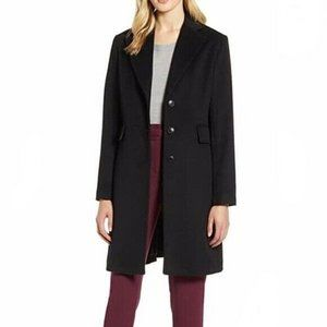 Halogen Single Breasted Notch Collar Topper Coat